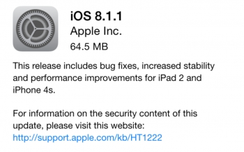 Apple: New iOS 8.1.1 fixes iPhone 4S iPad 2 performance, OS X 10.10.1 fixes Wi-Fi