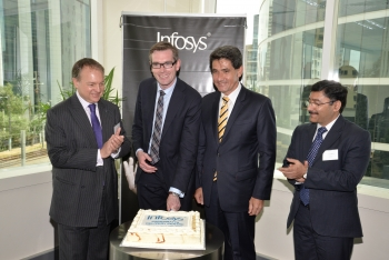 Infosys Andrew Groth,  NSW Minister for Finance and Services, Dominic Perrottet,  Member for Parramatta, Geoff Lee &  Infosys BPO, Vice President and Global Head of Capability, Anup Kapoor
