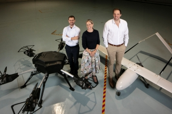 David Tozer, Chairman, Jolaine Boyd, COO and Ben Harris, CEO, National Drones