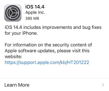 Apple releases iOS 14.4, iPadOS 14.4, watchOS 7.3 and tvOS 14.4