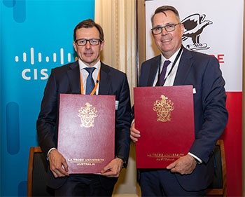 Cisco vice-president of Australia and New Zealand Ken Boal and La Trobe University president and vice-chancellor Professor John Dewar at the unveiling of the partnership.