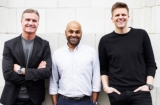 The Whisper founders: David Coulthard, Sunil Patel and Jake Humphrey.