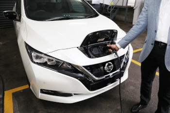 The Nissan LEAF being charged.