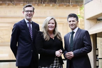 Minister Victor Dominello, Microsoft Australia Managing Director Pip Marlow, Minister Dominic Perrottet announce the landmark agreement