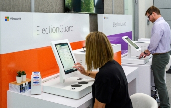 Microsoft ElectionGuard demos on 17 July at the Aspen Security Forum in Aspen, Colorado.